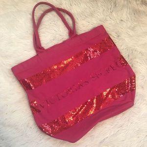 Victoria's Secret large pink sequin tote